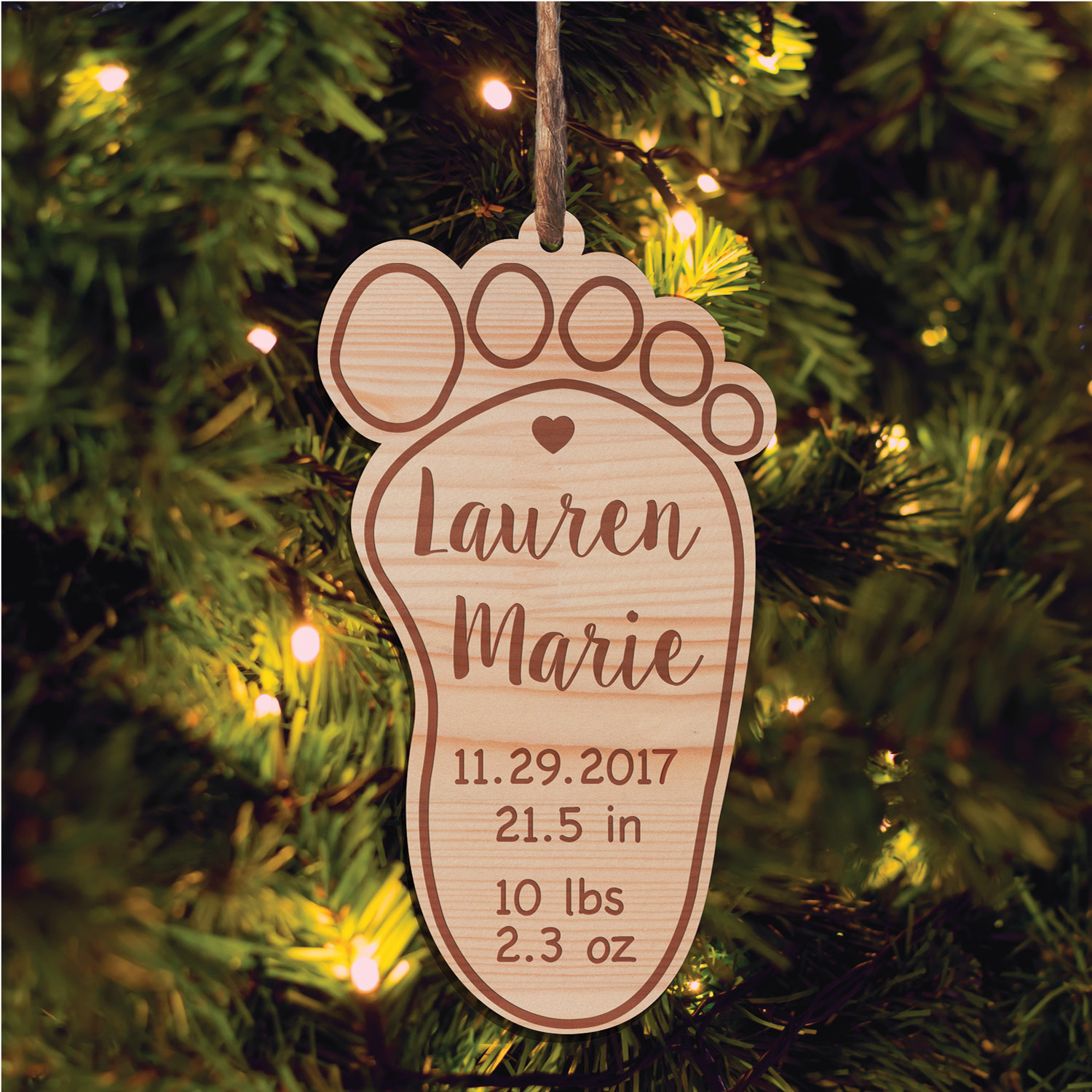 Personalized New Baby Wood Christmas Ornament