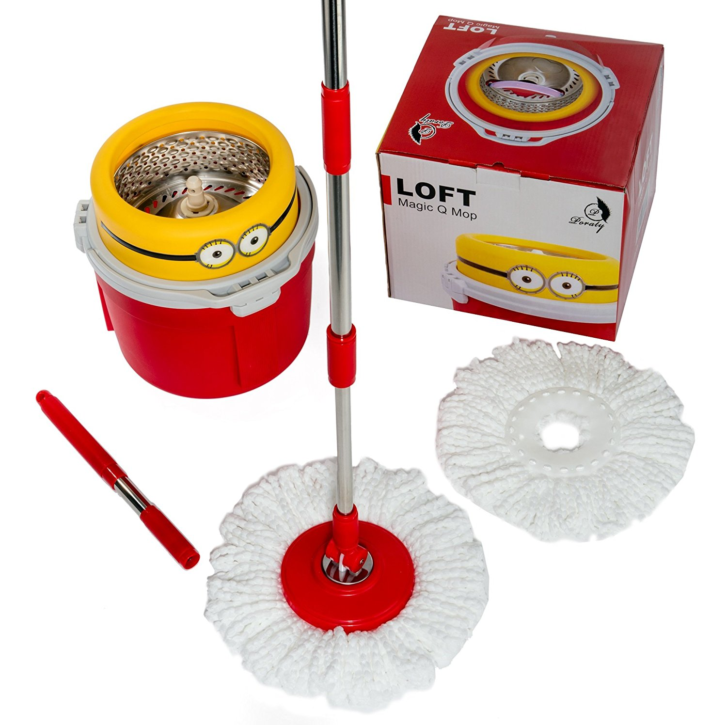 poraty new compact edition stainless steel deluxe rotating 360 spin mop with 2 microfiber mop heads walmartcom