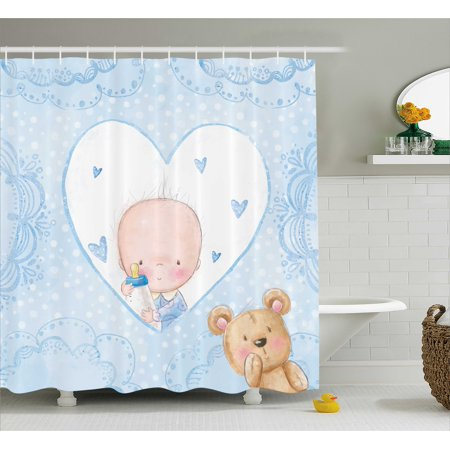 Gender Reveal Decorations Shower Curtain, Little Baby Boy Teddy Bear Heart Shaped Cute Design, Fabric Bathroom Set with Hooks, 69W X 70L Inches, Light Blue Sand Brown, by Ambesonne