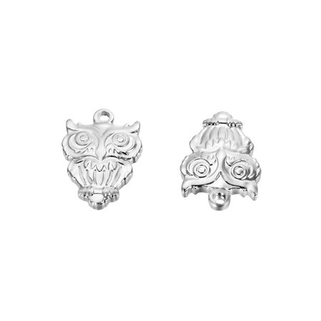 5pcs Wholesale 316L Stainless Steel Owl Charm Pendant Jewelry Findings 16mm