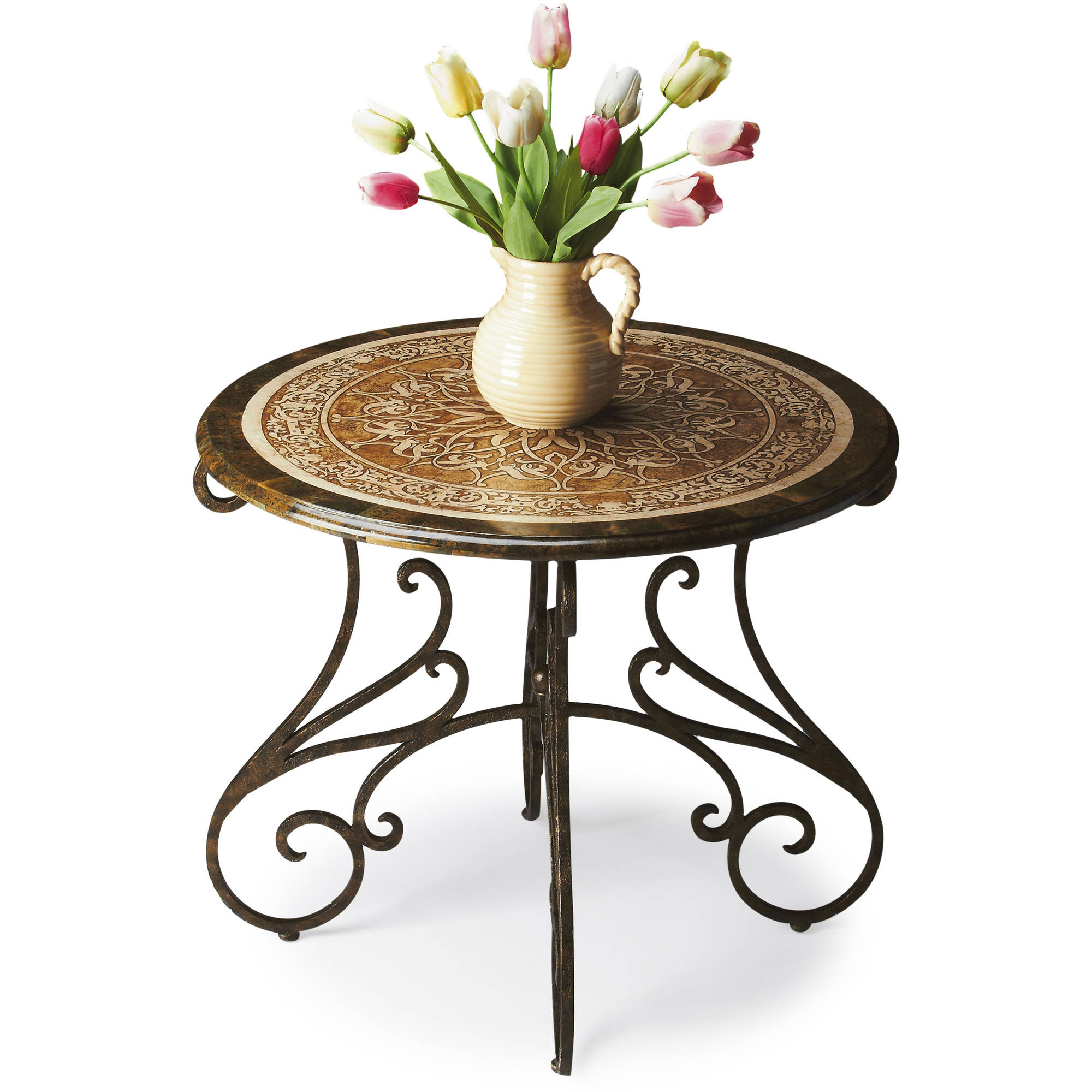 Butler Acid-Etched Fossil Stone Southwestern Steel Foyer Table