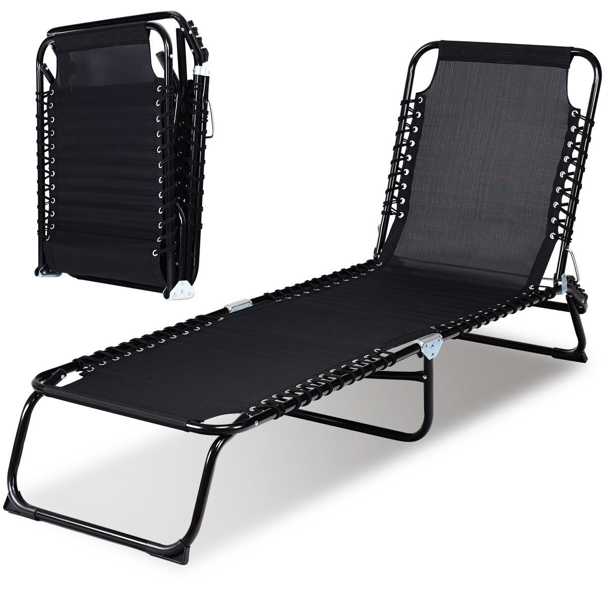 Gymax Foldable 3 Positions Camping Cot Patio Chaise Lounge Chair Leisure Bed Yard