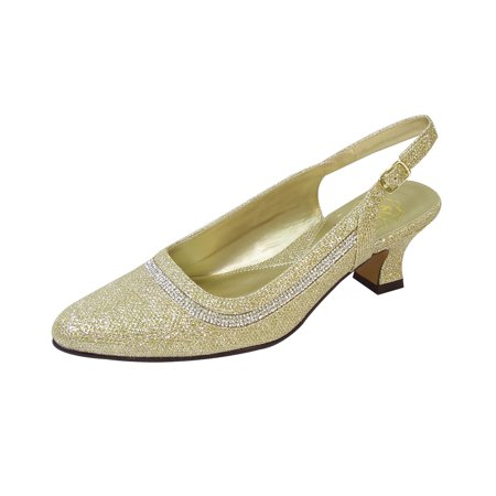Silver Slingback Shoes (Fic Floral Priya Women's Extra Wide Width Metallic Dress Slingback)