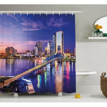 United States Shower Curtain  Jacksonville Florida Skyline Vibrant Night St  Johns River Scenic  Fabric Bathroom Set With Hooks  69W X 84L Inches Extra Long  Royal Blue Light Pink  By Ambesonne
