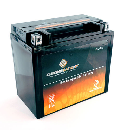 Chrome Battery M00034-10000 YTX16L-B High Performance Maintenance Free Sealed AGM Motorcycle Battery