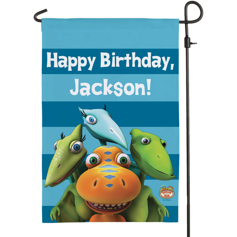 Personalized Dinosaur Train Happy Birthday Flag