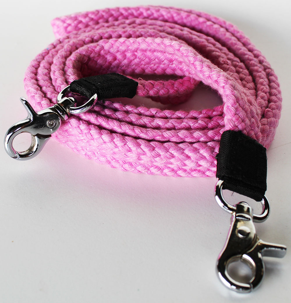 "Pink Cotton Roping Barrel Racing Reins 7'X1"" Braided Western Horse Tack 607175"