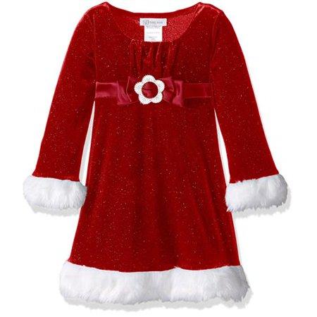 bonnie jean girls 2t-4t glitter santa emma dress (red (Glitter Emma Dress)