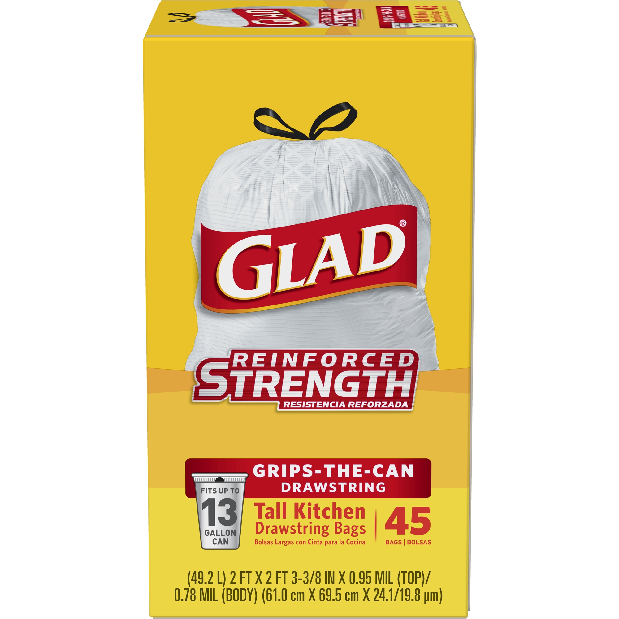 Glad Tall Kitchen DrawstringTrash Bags - 13 gal - 45 ct