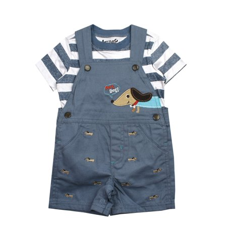Hot Dog Shortall and Tee, 2pc Outfit Set (Baby Boys)