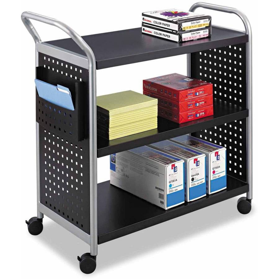 "Safco Scoot 3-Shelf Utility Cart, 31""W x 18""D x 38""H, Black/Silver"