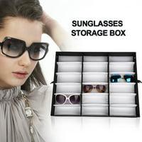 Ymiko 18 Grids Glasses Display Case Sunglasses Storage Box Organizer Glasses Jewelry Display Box,Glasses Organizer,Sunglasses Storage Box