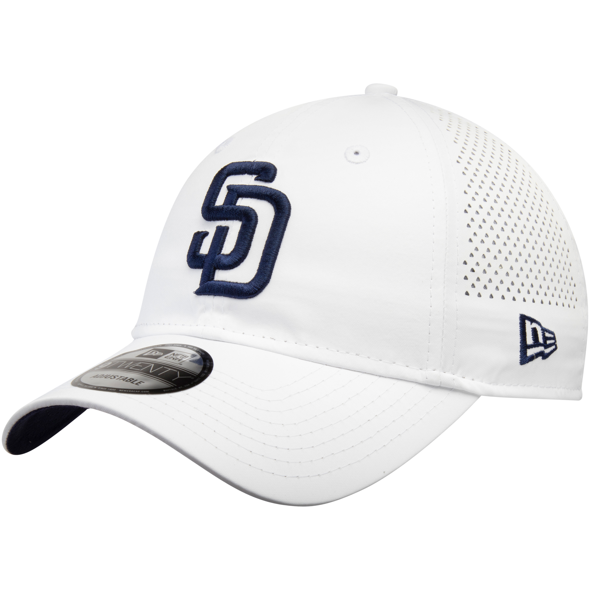 San Diego Padres New Era Perforated Pivot 9TWENTY Adjustable Hat - White - OSFA