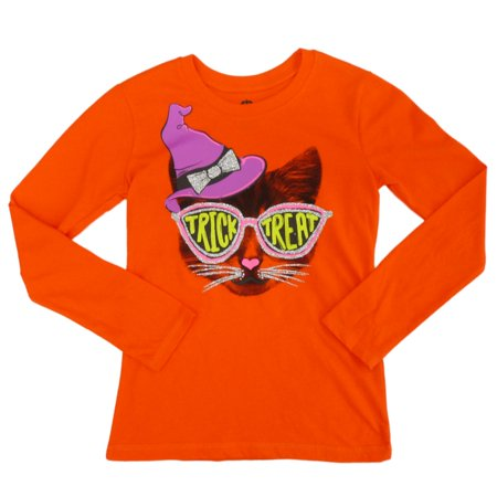 Happy Halloween Girls Orange Trick Or Treat Glittery Cat T-Shirt - Happy Halloween Day Trick Or Treat