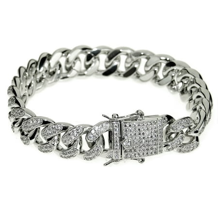 """Mens 14k White Gold Plated CZ Bracelet 8"""" Inch Long x 12MM Wide Iced-Out Hip Hop Cuban Link Full Stone"""