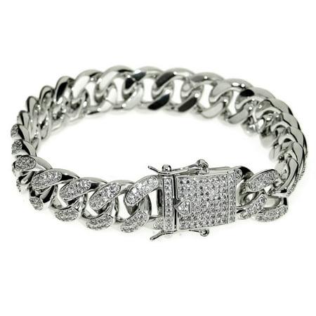 - Mens 14k White Gold Plated CZ Bracelet 8