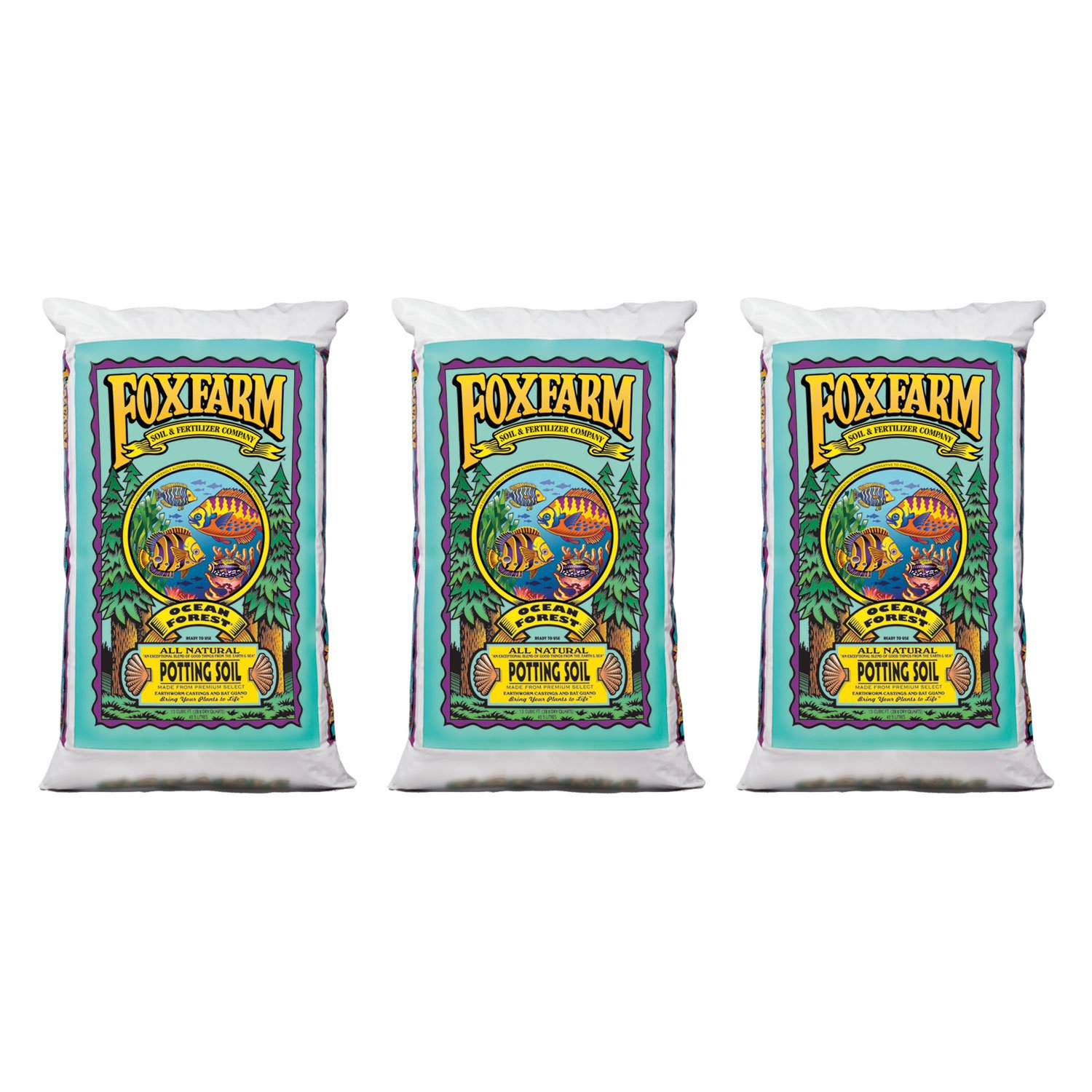 FoxFarm FX14000 Ocean Forest Plant Garden Potting Soil Mix, 40 Pounds (3 Pack)