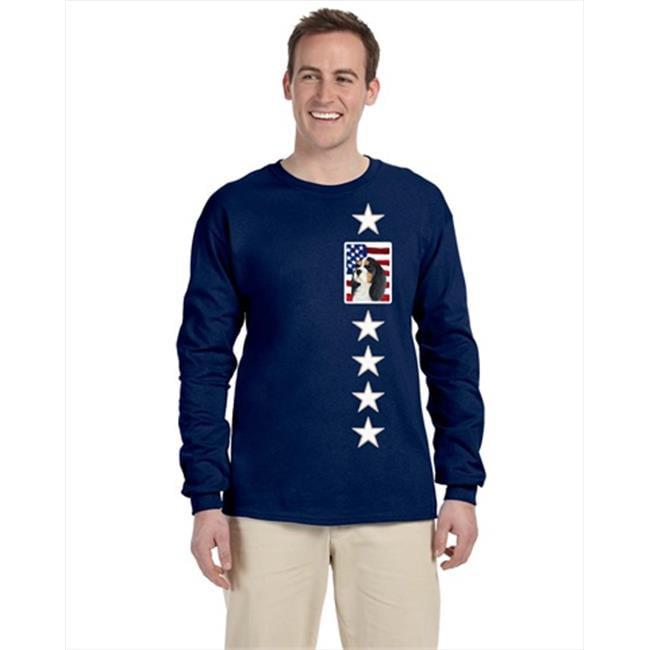 Carolines Treasures SS4248-LS-NAVY-S USA American Flag With Cavalier Spaniel Long Sleeve Blue Unisex Tshirt - Small - image 1 de 1