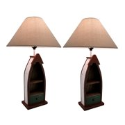 Wooden Row Boat Table Lamp w/2 Shelves and Drawer