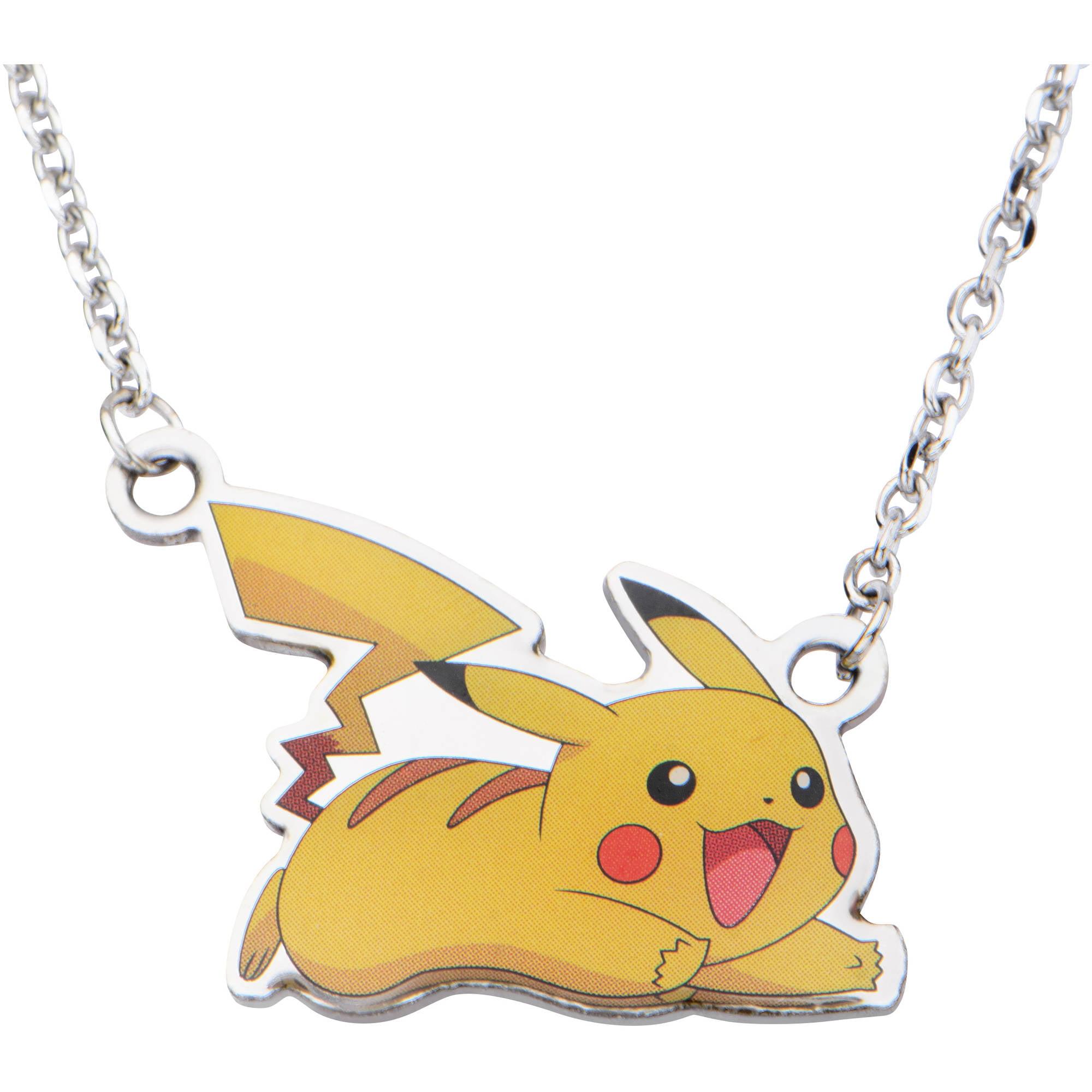 "Pokemon Kids' Stainless Steel Pikachu Pendant, 16"" Chain"