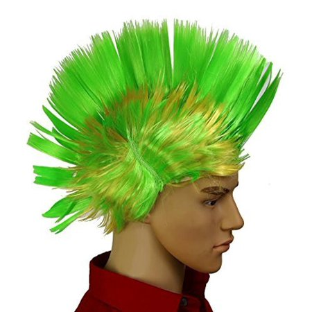 Dazzling Toys Wiggling Punk Blinking LED, Green and Colored Wig. One per pack. (Blinking Toys)