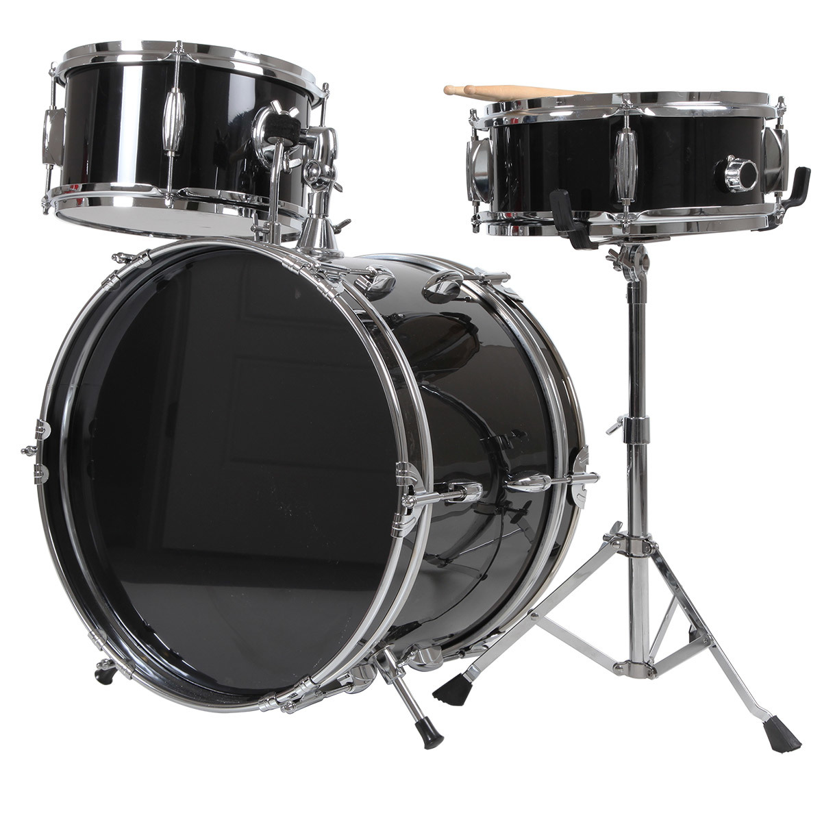 3-Pc Junior Drum Kit, Black for Beginners by X8 Drums
