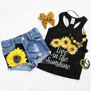 (1-6Y)Toddler Kids Baby Girl Sleeveless T-Shirt Top+Floral Denim Shorts 2Pcs Set Outfits