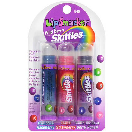 Lip Smacker Wild Berry Skittles Smoothie Fruit Flavored Lip Balm, 3 count, .42 oz