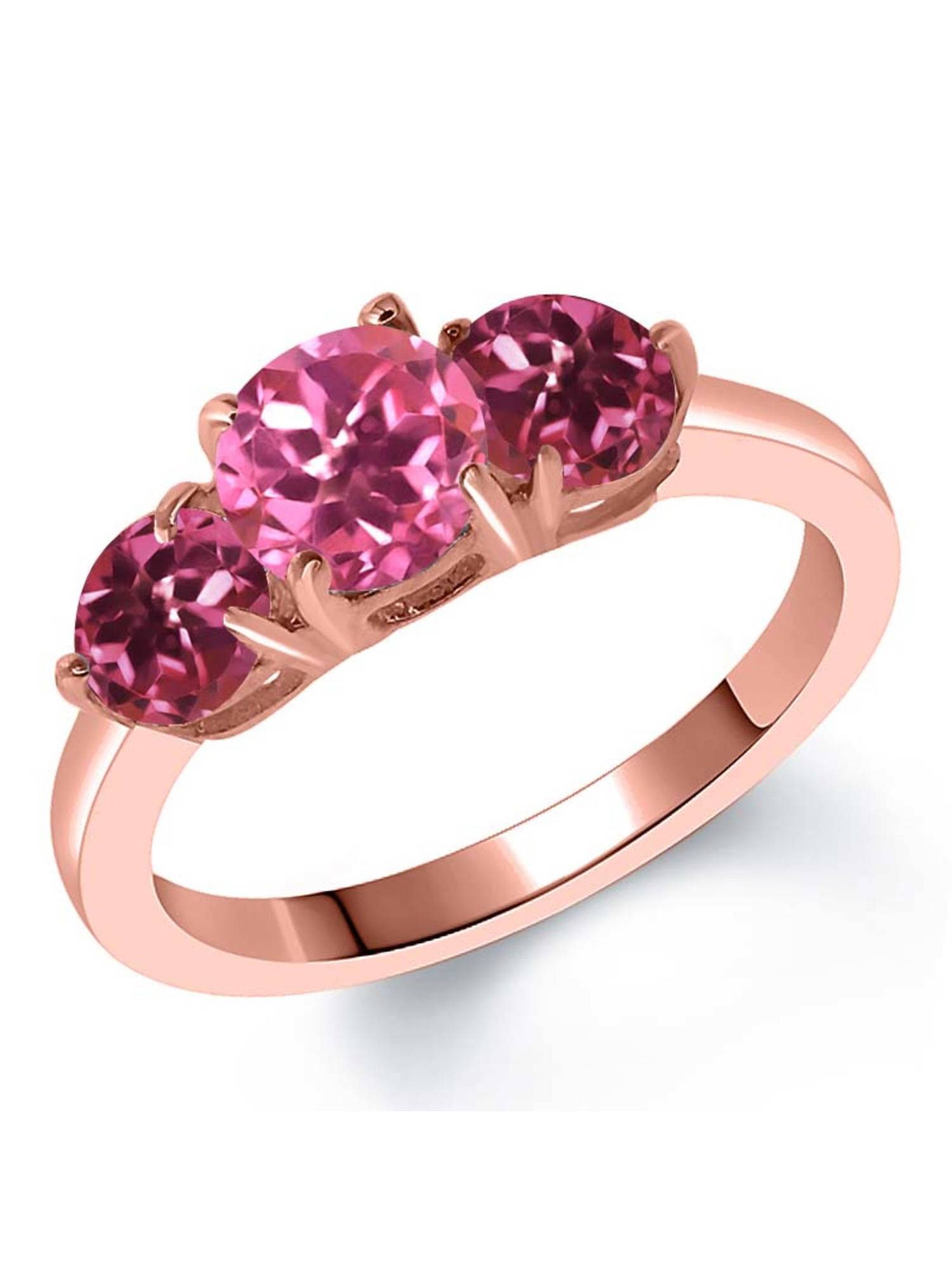 2.00 Ct Round Pink Mystic Topaz Pink Tourmaline 18K Rose Gold Plated Silver Ring by
