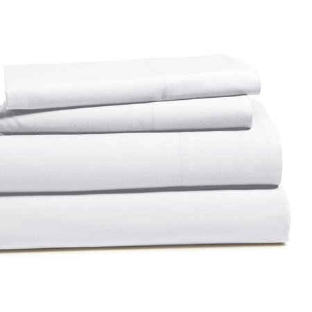 100 Cotton Brushed Percale Soft Peach Finish 4 Pc Sheet Set Queen White