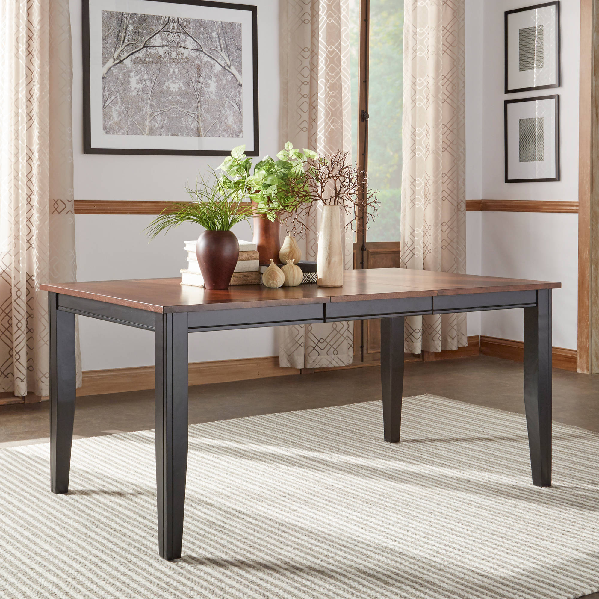 "Weston Home Two Tone 18"" Leaf Dining Table Black & Cherry"