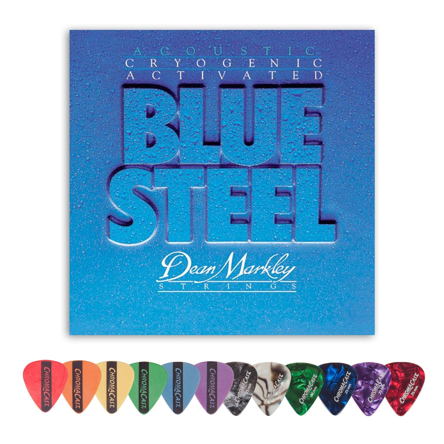 Dean Markley 2036 Blue Steel Medium-Light Gauge Acoustic Guitar Strings (.012-.054) with ChromaCast 12 Pick Sampler