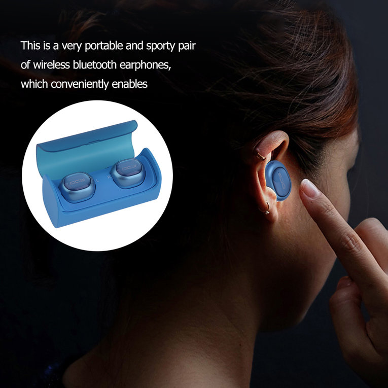 Qcy Q29 Twins True Wireless Bluetooth Stereo Headset Headphone In-Ear Earbuds Blue Blue