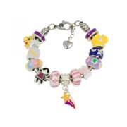 European Charm Bracelet With Charms For Girls, Stainless Steel Snake Chain, Nursery Rhyme, Purple 7 Inch (18cm)
