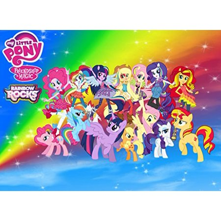 My Little Pony Friendship Magic Rainbow Rocks Edible Cake Topper Frosting 1/4 Sheet Birthday Party