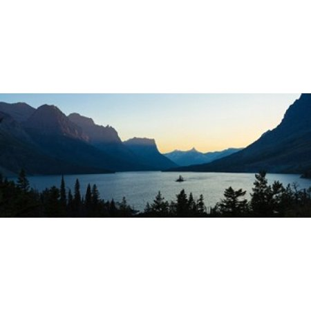 Sunset over St Mary Lake with Wild Goose Island US Glacier National Park Montana USA Canvas Art - Panoramic Images (30 x (Best Way To See Glacier National Park)