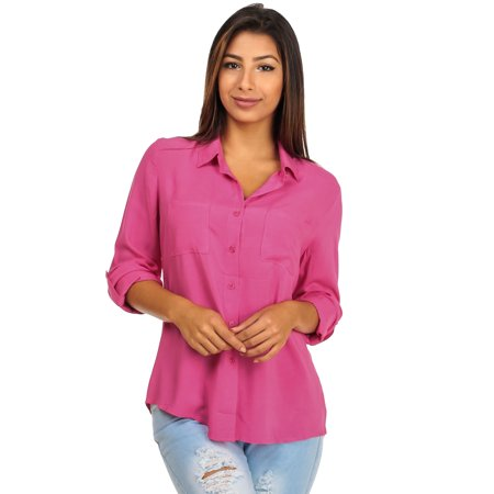 ModaXpressOnline - Womens Juniors Solid Pink Long Sleeve Button-Down ... 956aed2df