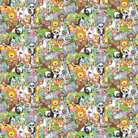 Two by Two Noah's Ark Multi Staked Animals Cotton Fabric by Studio E