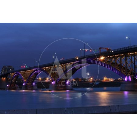 The Peace Bridge, Which is One of the Main Border Crossings between Canada and the United States, R Print Wall Art By