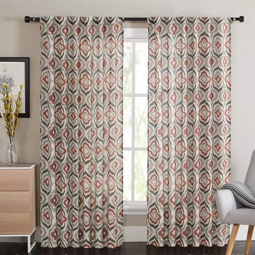 VCNY Broome Geometric Sheer Rod Pocket Curtain Panels