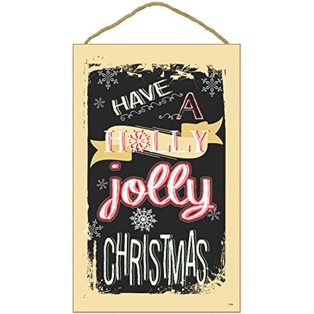 "Christmas Holiday Wall Hanging Decor Plaque Inscribed ""HAVE A HOLLY JOLLY CHRISTMAS"" (10"" x 16"" Beige Border with Snowflake in"