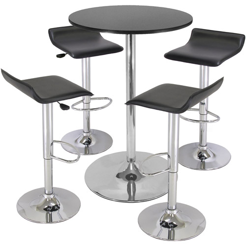 Airlift Adjustable 5 Piece Pub Set with Larger Table, Black and Chrome