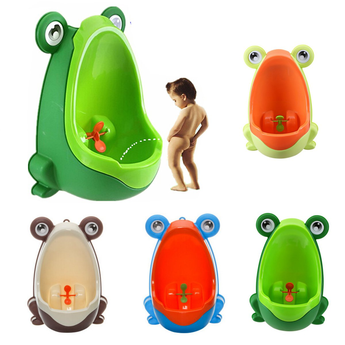 Cute Frog Potty Training Urinal Toilet Urine Train Froggy Potty for Children Kids Toddler Baby Boys, Portable Plastic Male Urinals,Pee Trainer Funny Aiming Target