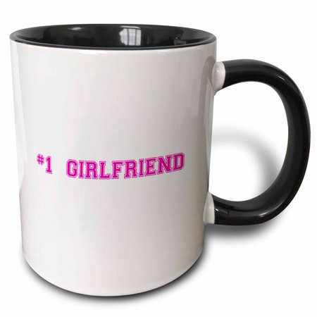 3dRose #1 Girlfriend - Number One Best girlfriend - Romantic couple gifts dating anniversary Valentines day - Two Tone Black Mug,