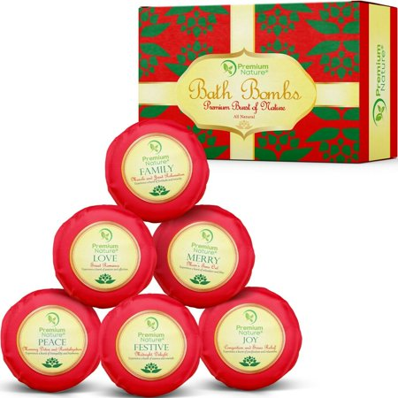 Bath Bombs Holiday Gift Set of 6, Christmas Fizzies for Her & Him, Relieves Pain & Moisturizes Dry Skin, By Premium Nature ()