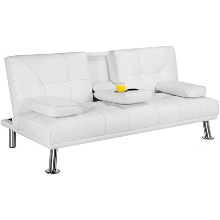 Luxurygoods Modern Faux Leather Futon Sofa Bed Home Recliner Couch White