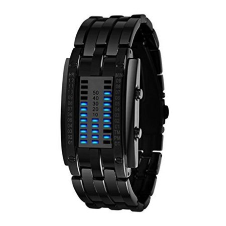 Soleasy Hot Low Price Led Electronic Men Women Stainless Steel Blue Binary Led Displayer Sports Wristwatch Black Wth0740