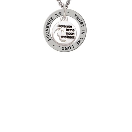 Silvertone Small I Love You to the Moon Proverbs 3:5 Affirmation Ring Necklace