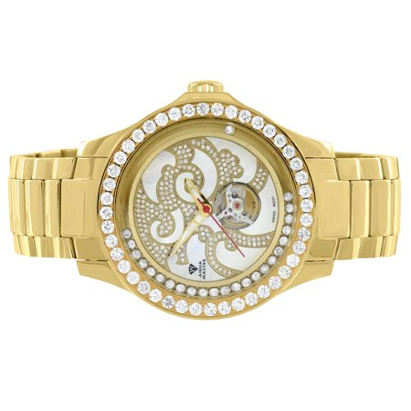 Mechanical Aqua Master Watch 7CT Real Diamond Stainless Steel Gold Tone Chinese Dragon Design
