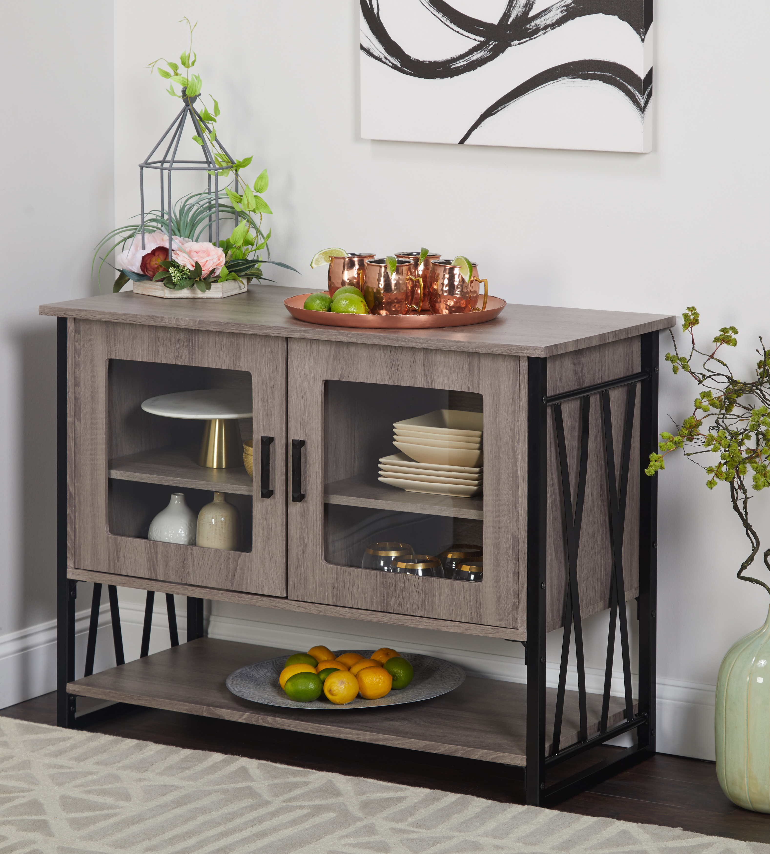 LenyXX Collection Storage Buffet, Gray